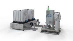 Pump and dosing installation for adhesives and fluids